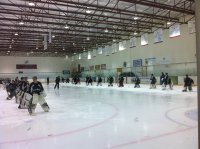 This is one group of 30 at a goalie camp in Calgary. They work at stations and do goalie movement drills like the one shown in the video.