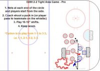 """D200 2-2 Tight Area Game - Pro Key Points: Protect the puck, use fakes, escape moves, change of direction, feints, shoot and pass quickly, triple threat position. Description: 1. Nets at each end of the circle and players start from the side. 2. Coach shoot a puck in (or player pass to teammate on the whistle. 3. Play 10-15"""" shifts. 4. Keep score. *Option is to play form 1-1 to 3-3, i.e. 1-1, 2-1, 3-2, 3-3. In this video demo watch Red 53 Gaudreau and 63 Bennet, who have exceptional tight moves. #53 scores a few goals because he does things so quickly."""