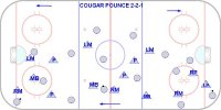This system combines the left wing lock and the torpedo. There are two offensive forwards the C and RW. The left wing plays like a left wing in the offensive end and a left D in the defensive zone and lines up on lw at the faceoff. The LW (who I call LD in this video) and RD stay on their side of the ice. The right D plays like a RW in the offensive zone and a RD in our end. The LD is really a middle D and is on the puck side in the offensive end and is the support player low in the defensive zone, always on the puck side. The RW and C cover the points in the D zone and force the puck on the attack. They can forecheck either in a 2-2-1 or a 1-3-1 formation. There are always 4 players on the attack.