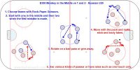 1. Choose teams with Rock-Paper-Scissors.  2. Start with one in the middle and then two when the first mistake is made.  3. Rotate on a bad pass or give-away. 4. Move with the puck and make stick and body fakes. 5. Use various kinds of passes or have rules such as one-touch only.