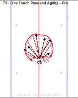 T1 - One Touch Pass and Agility – Pro Key Points: Absorb the puck and wrist pass it back instead of slapping the puck.  Description: 1.One player pass while skating around the circle facing a coach or another player. 2.Go each direction once then switch.
